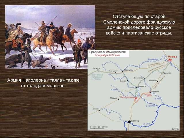 Отступающую по старой Смоленской дороге французскую армию приследовало русско...