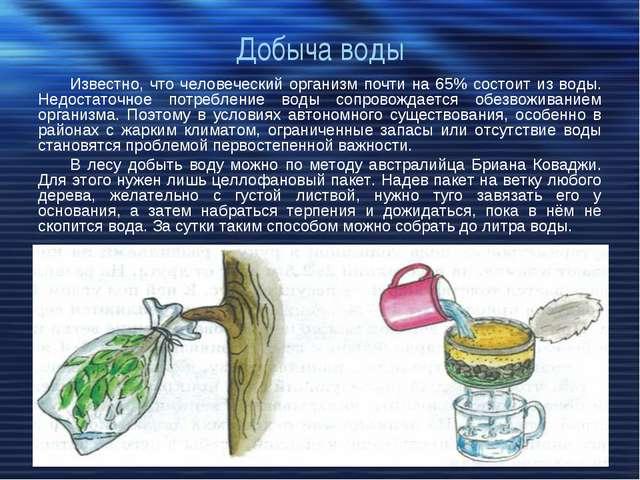Добыча воды Известно, что человеческий организм почти на 65% состоит из воды....