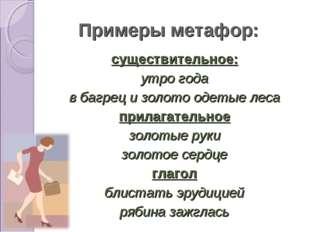 Примеры метафор: существительное: утро года в багрец и золото одетые леса при