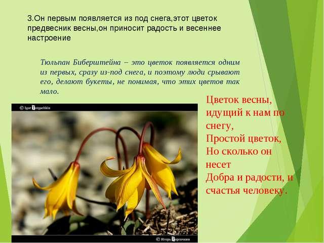 3.Он первым появляется из под снега,этот цветок предвесник весны,он приносит...