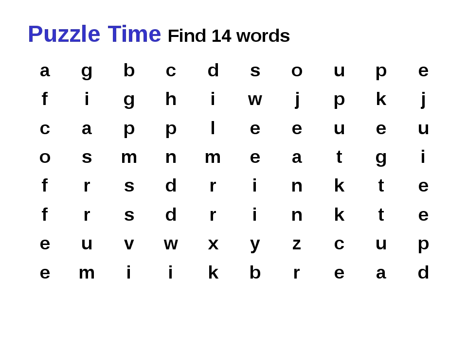 Puzzle Time Find 14 words