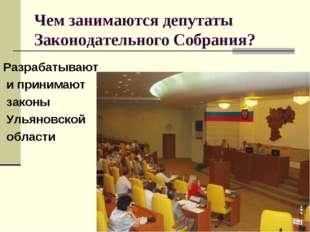 Чем занимаются депутаты Законодательного Собрания? Разрабатывают и принимают