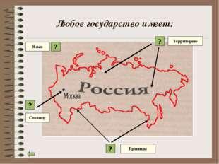 Любое государство имеет: ? ? ? Территорию Границы Столицу Язык ?