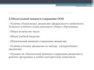 Направления самообследования 2.Обязательный минимум содержания ООП - Наличие