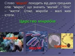 """Слово """"мікроб"""" походить від двох грецьких слів: """"мікрос"""", що значить """"малий"""","""