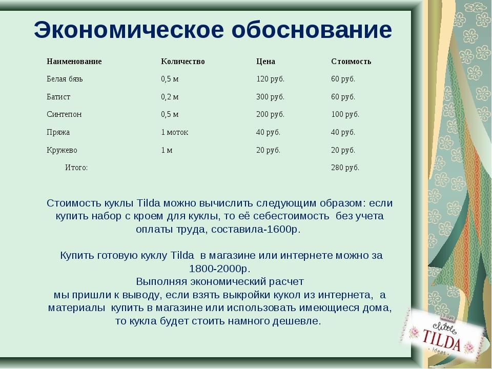 Экономическое обоснование Стоимость куклы Tilda можно вычислить следующим обр...