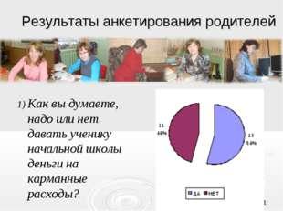 * Результаты анкетирования родителей Как вы думаете, надо или нет давать учен