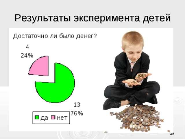 * Результаты эксперимента детей