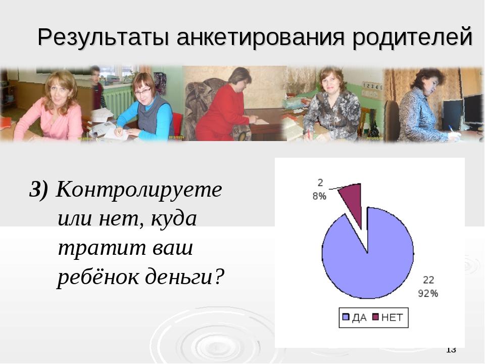 * Результаты анкетирования родителей 3) Контролируете или нет, куда тратит ва...