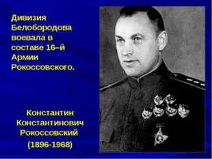 Дивизия Белобородова воевала в составе 16–й Армии Рокоссовского. Константин К