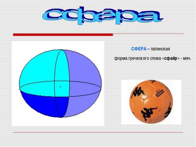 СФЕРА – латинская форма греческого слова «сфайр» - мяч.