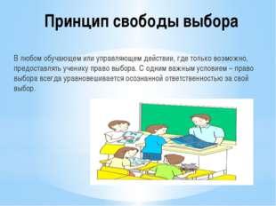 Принцип свободы выбора В любом обучающем или управляющем действии, где только