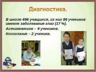 В школе 496 учащихся, из них 86 учеников имеют заболевания глаз (17 %). Астиг