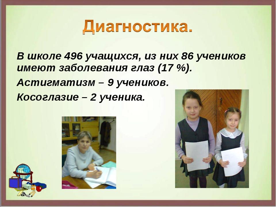 В школе 496 учащихся, из них 86 учеников имеют заболевания глаз (17 %). Астиг...