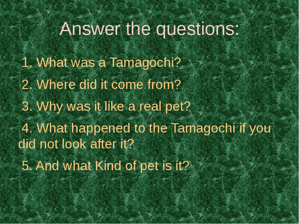 Answer the questions: 1. What was a Tamagochi? 2. Where did it come from? 3....