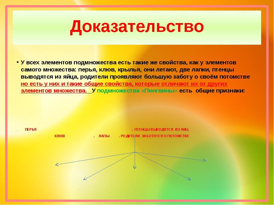 Доказательство У всех элементов подмножества есть такие же свойства, как у эл...