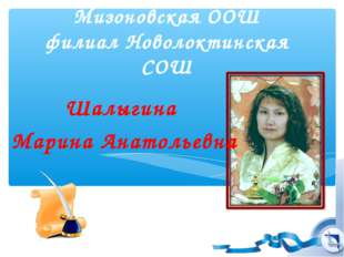 Мизоновская ООШ филиал Новолоктинская СОШ Шалыгина Марина Анатольевна