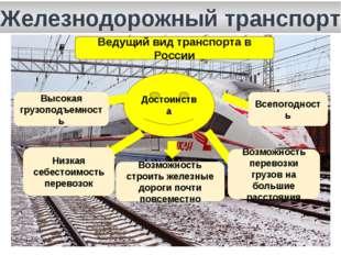 Железнодорожный транспорт Ведущий вид транспорта в России Достоинства Высокая