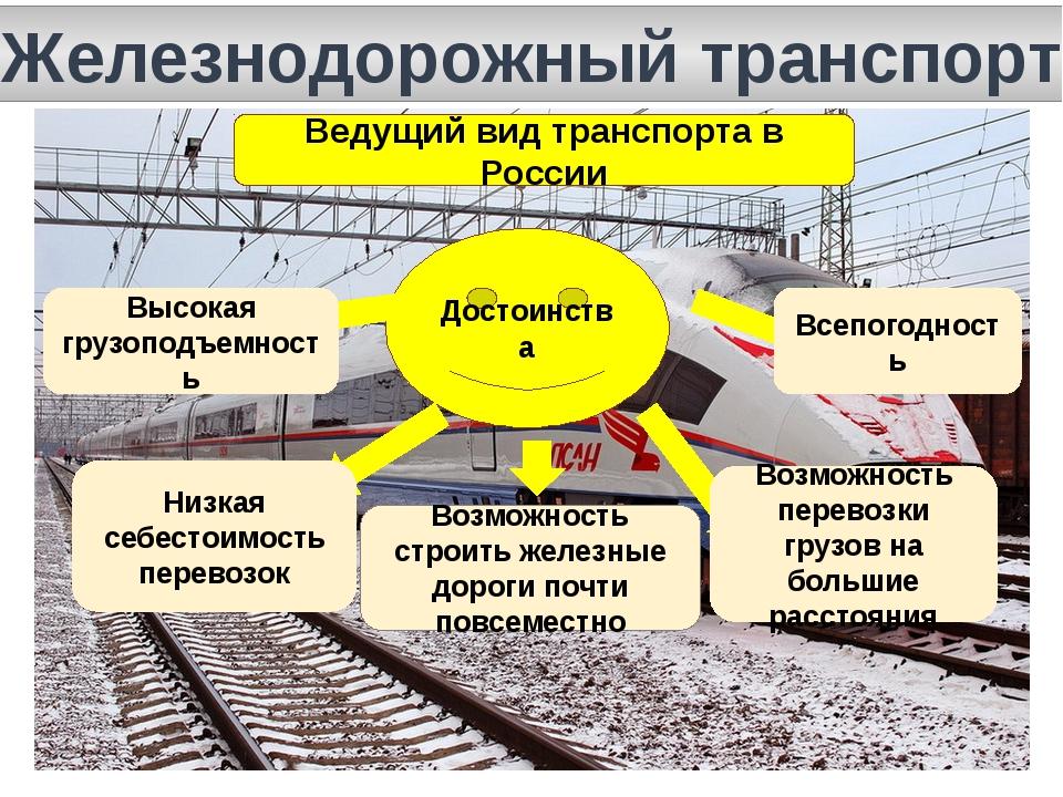 Железнодорожный транспорт Ведущий вид транспорта в России Достоинства Высокая...