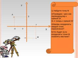 Х У 0 М 3 -4 1) Найдите точку М 2)Проведем чрез нее перпендикуляр к прямой 0Х