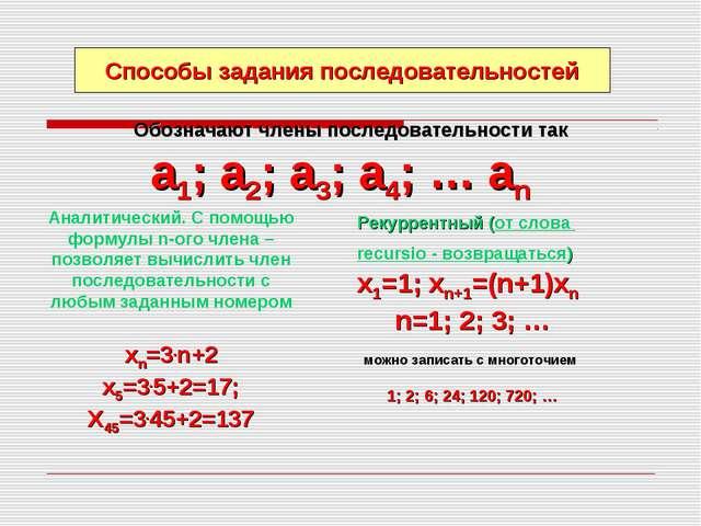 Обозначают члены последовательности так а1; а2; а3; а4; … аn Способы задания...