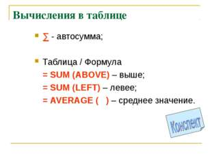 Вычисления в таблице ∑ - автосумма; Таблица / Формула = SUM (ABOVE) – выше;