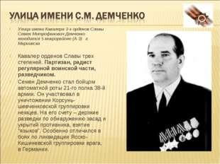 Улица имени Кавалера 3-х орденов Славы Семен Митрофанович Демченко находится