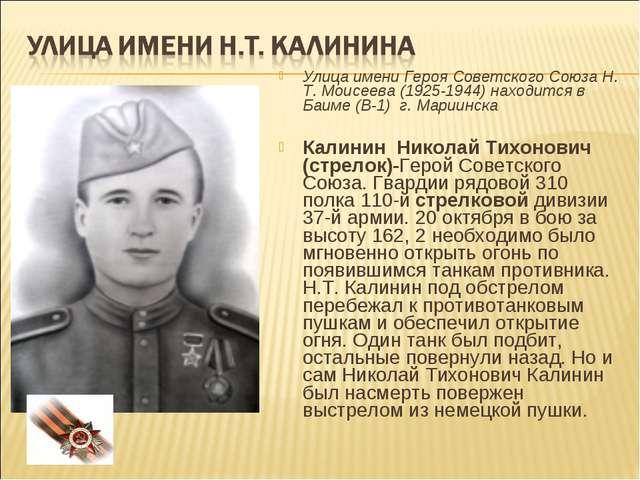 Улица имени Героя Советского Союза Н. Т. Моисеева (1925-1944) находится в Баи...