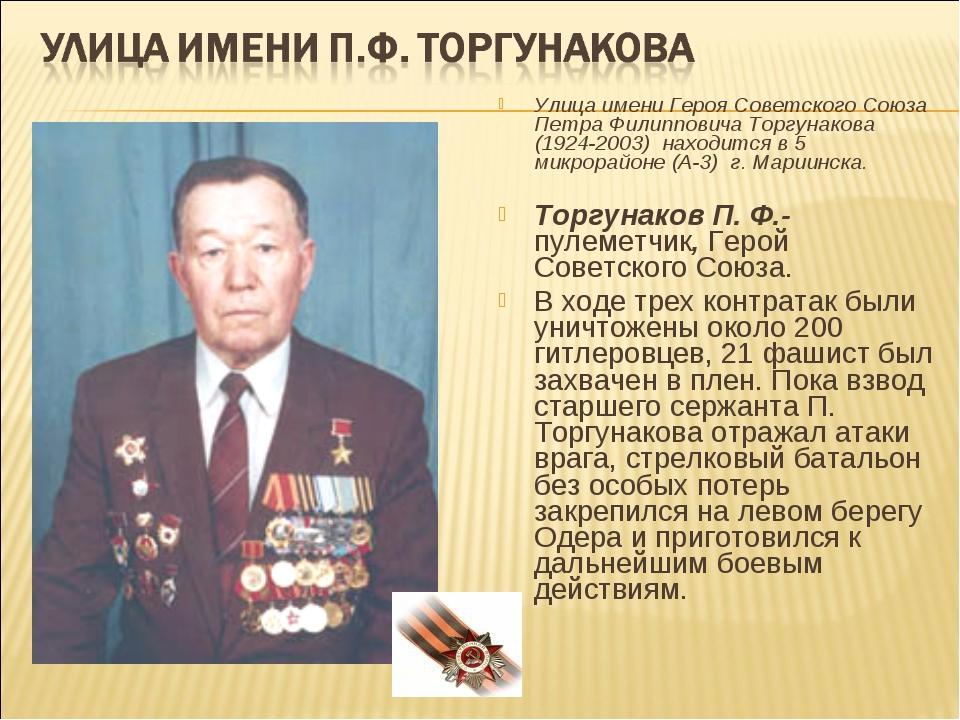 Улица имени Героя Советского Союза Петра Филипповича Торгунакова (1924-2003)...