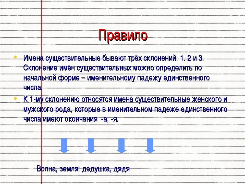 Правило Имена существительные бывают трёх склонений: 1. 2 и 3. Склонение имё...