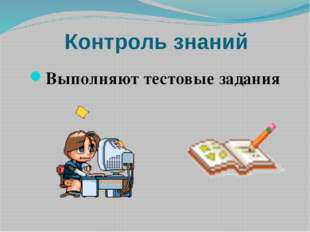 Контроль знаний Выполняют тестовые задания