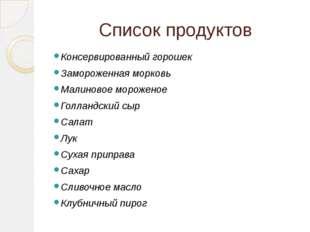 Список продуктов Консервированный горошек Замороженная морковь Малиновое моро