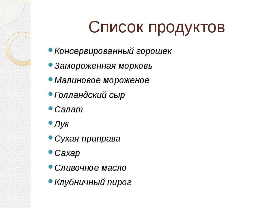 Список продуктов Консервированный горошек Замороженная морковь Малиновое моро...