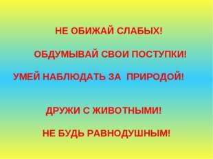 НЕ ОБИЖАЙ СЛАБЫХ! ОБДУМЫВАЙ СВОИ ПОСТУПКИ! УМЕЙ НАБЛЮДАТЬ ЗА ПРИРОДОЙ! ДРУЖИ