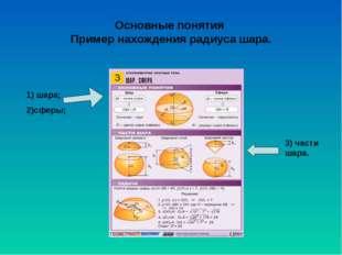 Основные понятия Пример нахождения радиуса шара. 1) шара; 2)сферы; 3) части ш
