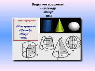 Виды тел вращения: - цилиндр -конус - шар