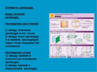 Элементы цилиндра. Виды сечений цилиндра. Нахождение расстояний: 1) между сеч