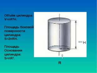 R H Объём цилиндра: V=пR2H. Площадь боковой поверхности цилиндра: S=2пRH. Пло