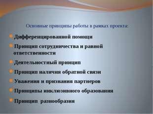 Основные принципы работы в рамках проекта: Дифференцированной помощи Принцип