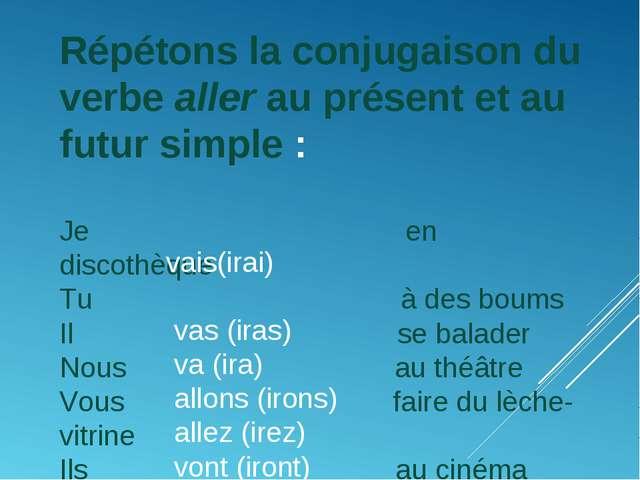 Répétons la conjugaison du verbe aller au présent et au futur simple: Je en...