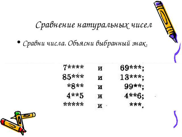 Сравнение натуральных чисел Сравни числа. Объясни выбранный знак.