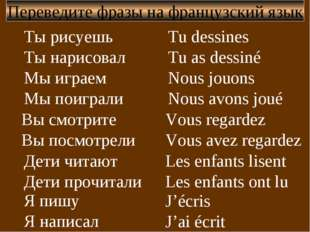 Я пишу Я написал Переведите фразы на французский язык Ты рисуешь Ты нарисовал