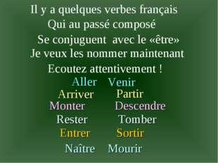 Il y a quelques verbes français Qui au passé composé Se conjuguent avec le«ê