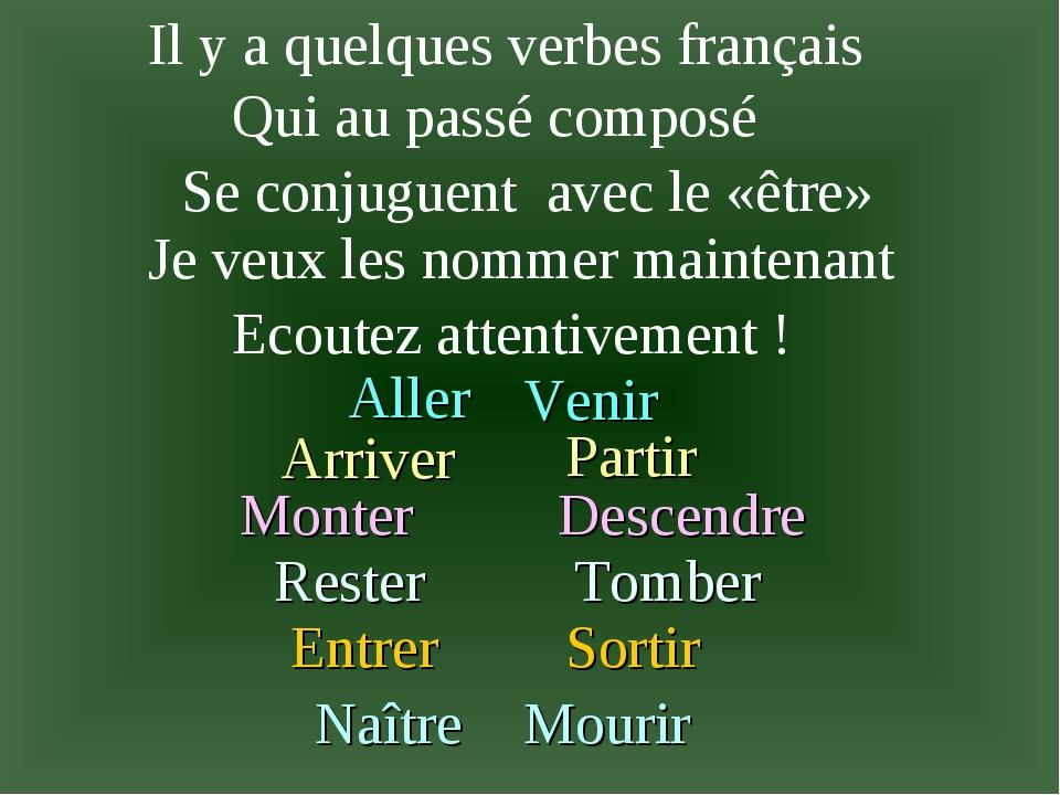 Il y a quelques verbes français Qui au passé composé Se conjuguent avec le«ê...