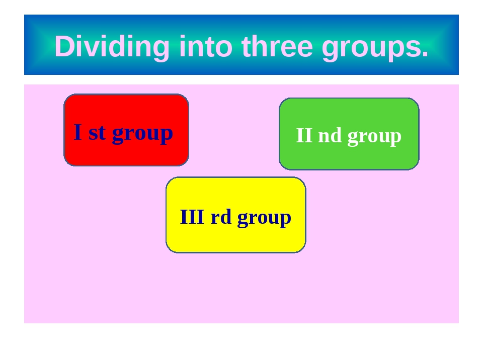 Dividing into three groups. I st group II nd group III rd group