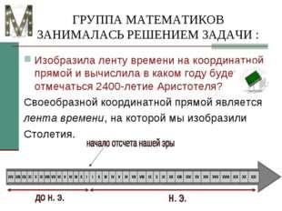 ГРУППА МАТЕМАТИКОВ ЗАНИМАЛАСЬ РЕШЕНИЕМ ЗАДАЧИ : Изобразила ленту времени на к