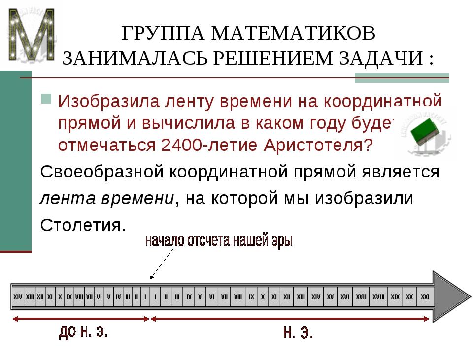 ГРУППА МАТЕМАТИКОВ ЗАНИМАЛАСЬ РЕШЕНИЕМ ЗАДАЧИ : Изобразила ленту времени на к...