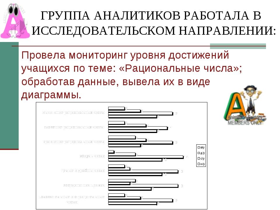 ГРУППА АНАЛИТИКОВ РАБОТАЛА В ИССЛЕДОВАТЕЛЬСКОМ НАПРАВЛЕНИИ: Провела мониторин...
