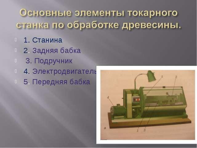1. Станина 2. Задняя бабка 3. Подручник 4. Электродвигатель 5. Передняя бабка