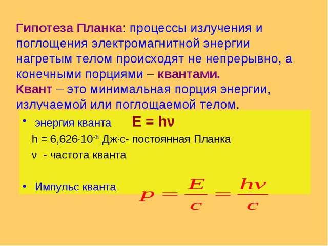 Гипотеза Планка: процессы излучения и поглощения электромагнитной энергии наг...